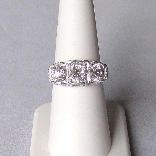 Antique 18K White Gold Three-Diamond Filigree Ring