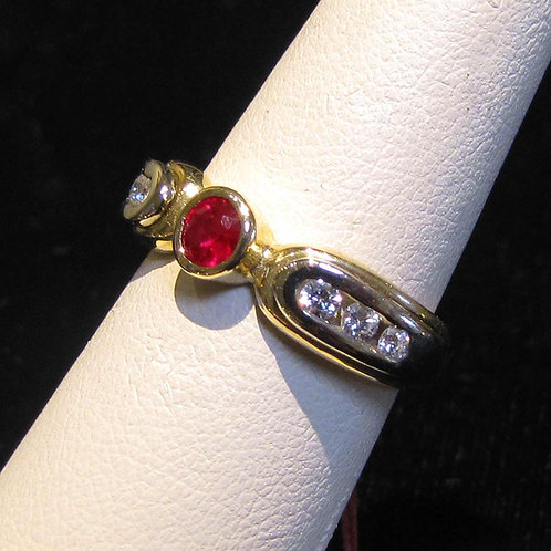 Modern 14K Two Tone Ruby and Diamond Ring