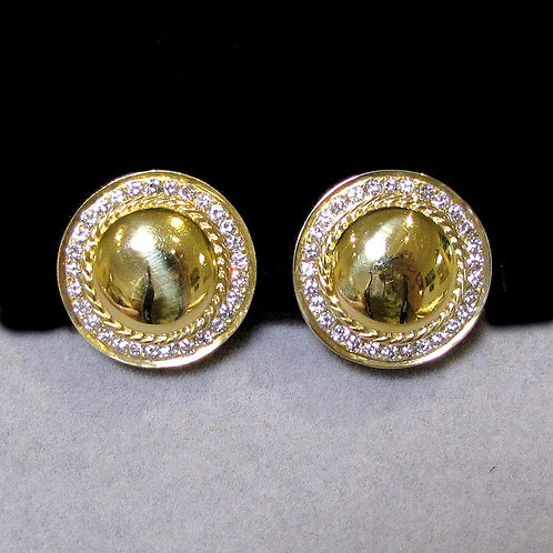 18K and Diamond Round Polished Button Earrings