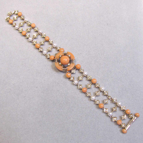 Antique Victorian Coral and Pearl Bracelet