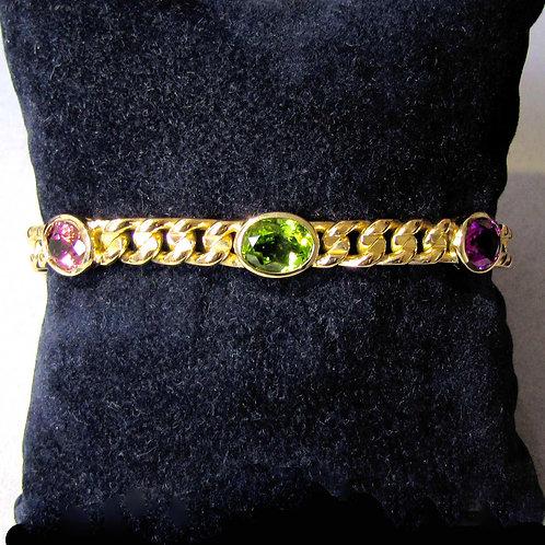 Bulgari 18K Multi-Color Gemstone Bracelet