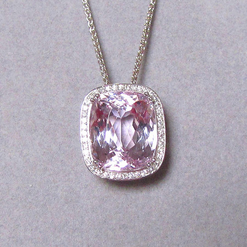 Large White Gold Kunzite and Diamond Pendant Necklace