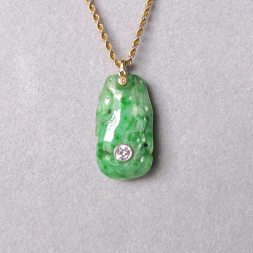 Carved Jade Pendant with Diamond Accent