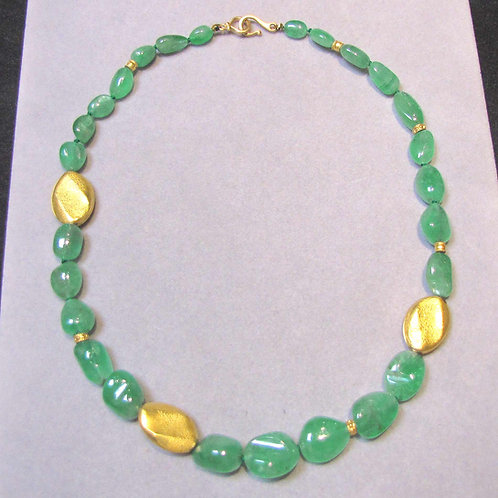 Polished Emerald Nugget and Textured Gold Bead Necklace