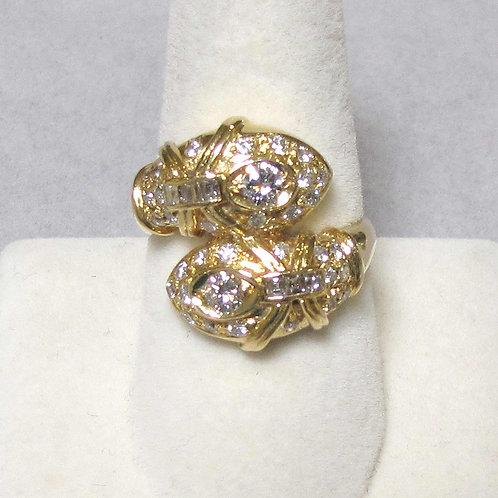 Fancy 18K Diamond Bypass Ring