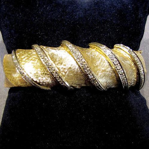 Textured 14K and Diamond Hinged Bangle Bracelet