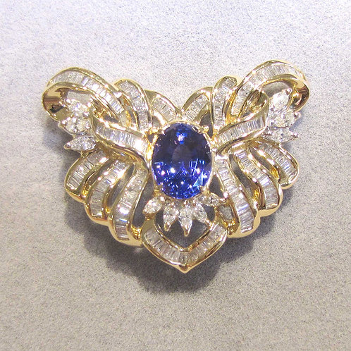 Fancy Tanzanite and Diamond Brooch / Slide Pendant