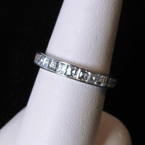 Platinum Eternity Band Ring with Square Diamonds