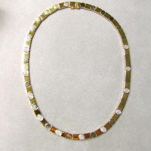 14K Two Tone Diamond Nail-Head Design Choker Necklace