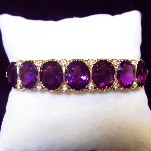 Rose Gold Amethyst and Diamond Oval Hinged Bangle Bracelet
