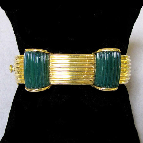 18K and Green Onyx Hinged Bangle Bracelet