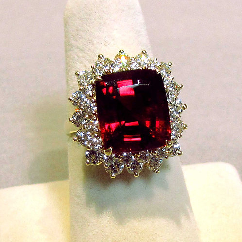 18K Rubelite Tourmaline and Diamond Ring
