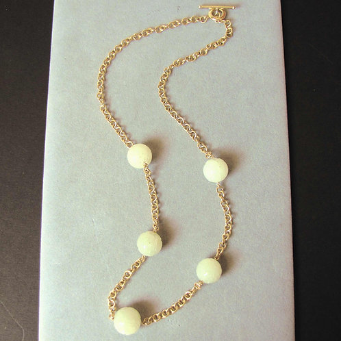 18K Carved Jadeite Bead and Chain Necklace