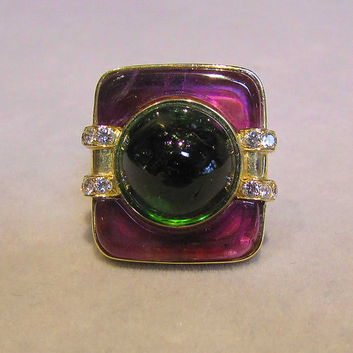 Rectangular Tourmaline Cab, Amethyst and Diamond Ring