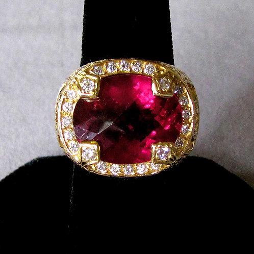 Heavy Ornate 18K Rubelite Tourmaline, Diamond and Pink Sapphire Ring