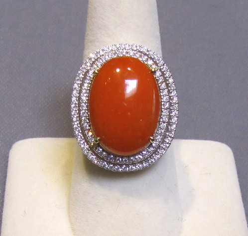 14K White Gold Red Coral and Diamond Ring viauestatejewelry