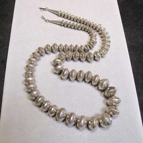 """30"""" Navajo Sterling Silver Stamped Saucer Bead Necklace"""