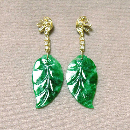 Carved Green Jade and Diamond Drop Earrings