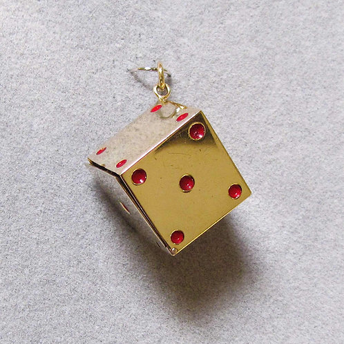 Large 14K Enamel Single Dye Charm with Hinged Lid