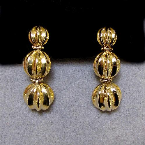 14K Fluted Half-Bead Drop Earrings