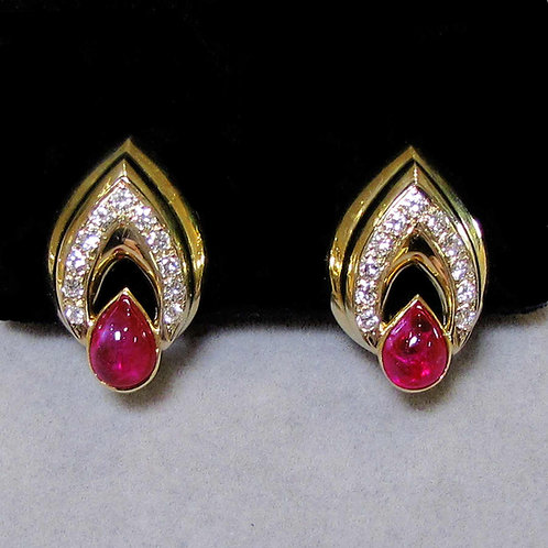 18K Teardrop Shape Ruby and Diamond Earrings