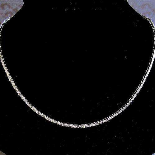 Modern Slim Platinum Diamond Line Necklace