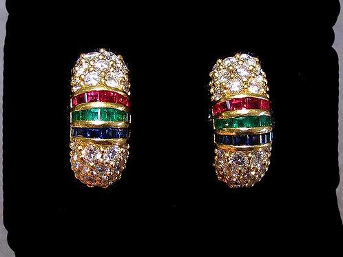 Van Cleef & Arpels 18K Diamond Half Hoops