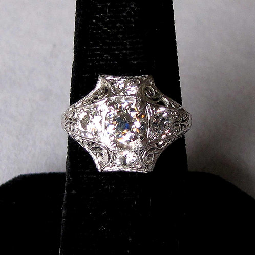 Late Edwardian Platinum and Old European Cut Diamond Ring
