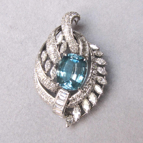 Fancy Platinum Aquamarine and Diamond Pin Pendant