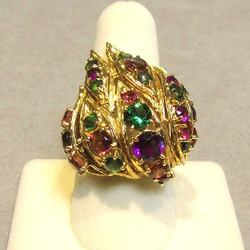 "Large 18K Multicolor Gemstone ""Flame"" Ring"