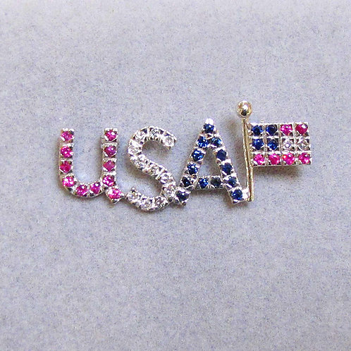 White Gold Diamond, Ruby and Sapphire USA American Flag Pin