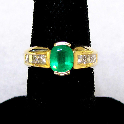 Contemporary 18K Emerald and Diamond Ring