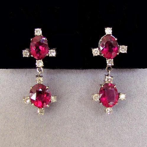 18K Rubelite Tourmaline and Diamond Drop Earrings