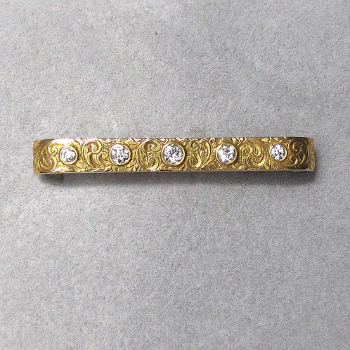 Antique Victorian Engraved Gold and Diamond Bar Pin