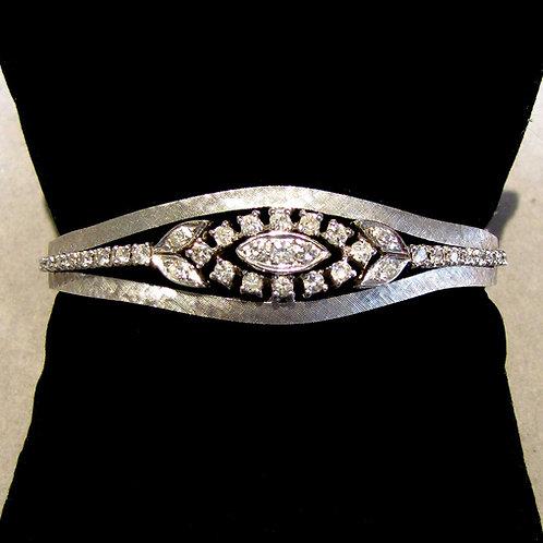 Florentined White Gold Diamond Bangle Bracelet