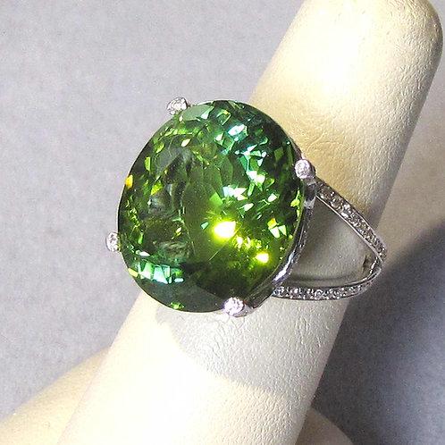 18K White Gold Large Green Tourmaline and Diamond Ring