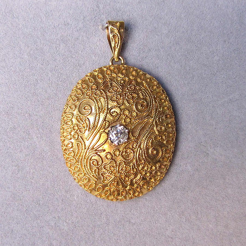 18K Large Oval Pendant with Old Mine Cut Diamond and Scrolled Details