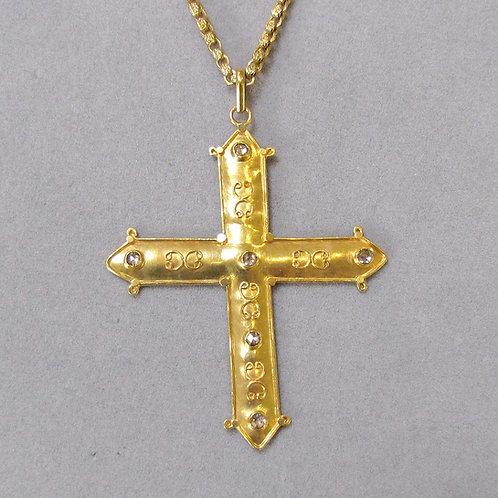 Large Handmade 18K Cross with Diamonds