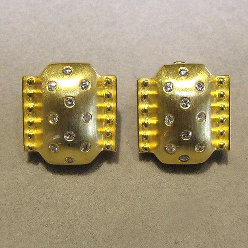 Brushed 18K & Diamond Earrings