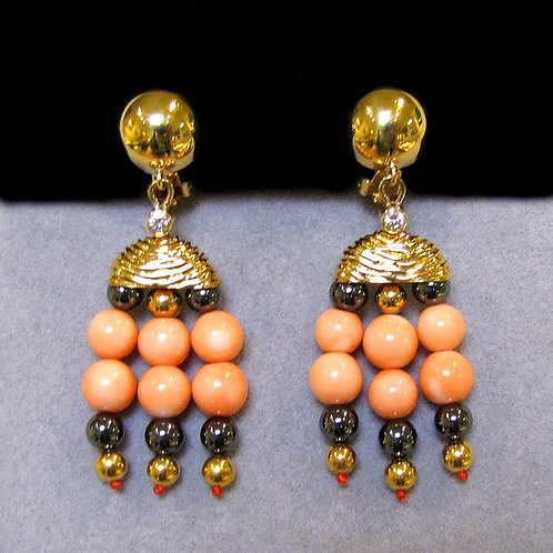 18K Diamond, Coral and Hematite Drop Earrings