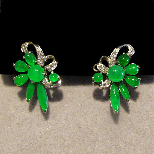 Fine Green Jadeite White Gold Earrings with Diamonds