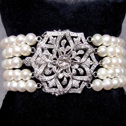 Vintage Style Wide Diamond and Multi-Strand Pearl Bracelet
