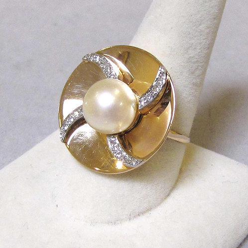 1940s 14K Pearl and Diamond Round Top Ring