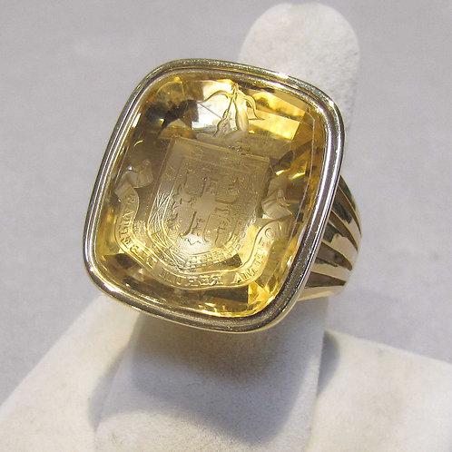 14K Large Victorian Intaglio Citrine Ring