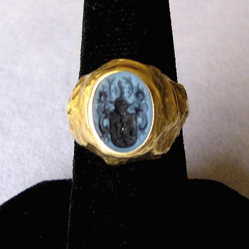14K Antique German Intaglio Carved Onyx Crest Ring
