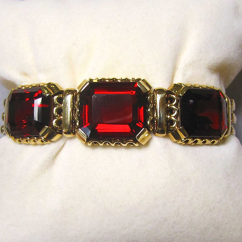 14K Red Citrine Three-Stone Link Bracelet