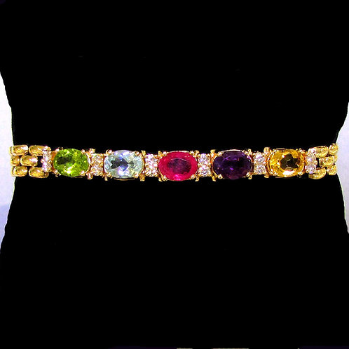 Yellow Gold Multi-Color Gemstone and Diamond Bracelet