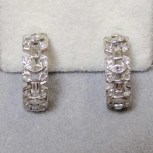 Art Deco 18K Diamond Half-Hoop Earrings