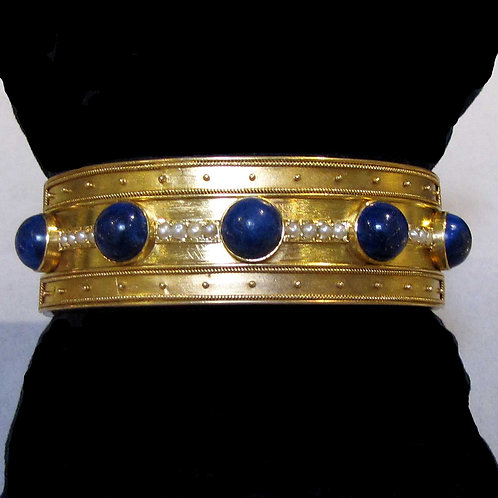 Antique 18K Etruscan Revival Lapis and Seed Pearl Cuff Bracelet