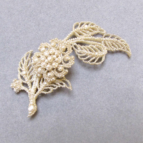 Large Victorian Gold and Silver Seed Pearl Floral Brooch